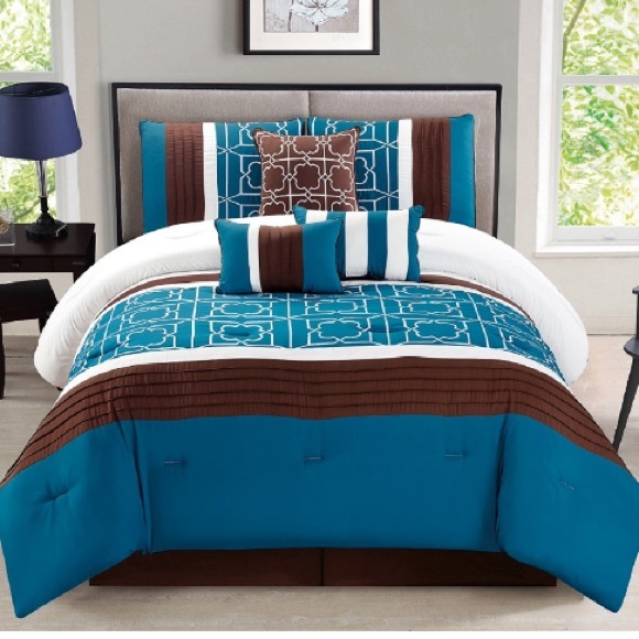 TURQUOISE BROWN 7PC COMFORTER SET LUXURY PILLOWS BED SKIRT FULL//QUEEN BEDDING